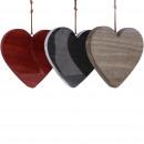 groothandel Woondecoratie: Houten hart email om op te hangen, 3 kleuren, D15c